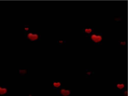 Полупрозрачные, мерцающие сердечки летят снизу вверх Размер:3,70 мб