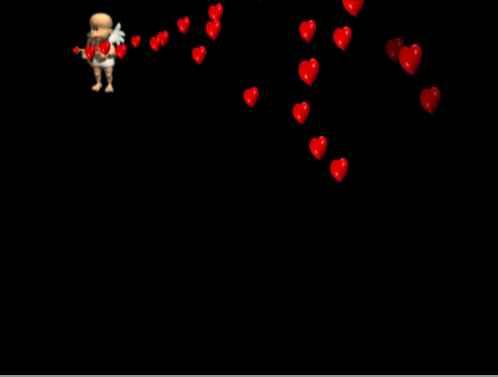 Летящий ангелочек с красными сердечками. Размер: 4,49мб