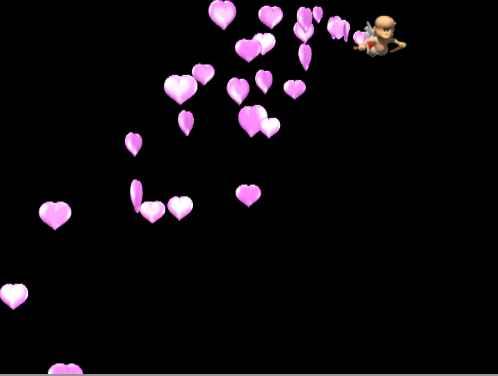 Летящий ангелочек с сиреневыми сердечками. Размер: 4,39 мб